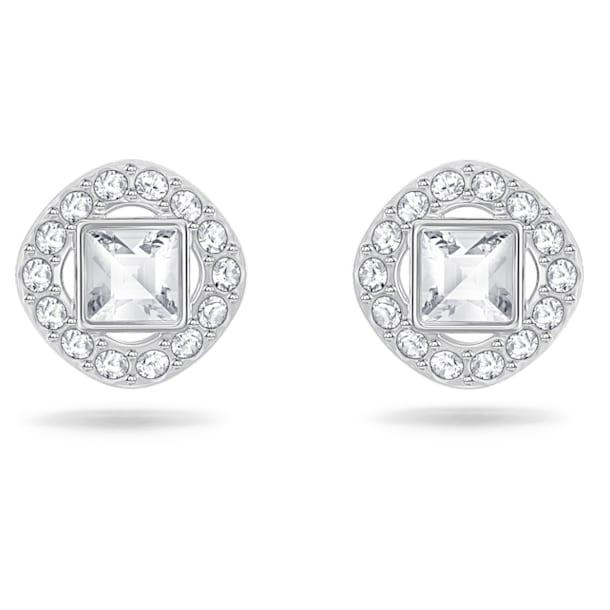 Angelic Stud Earrings, Square, White, Rhodium plated - Swarovski, 5368146
