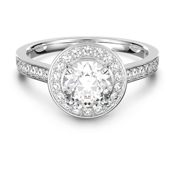 Attract Round-ring, Wit, Rodium-verguld - Swarovski, 5368545