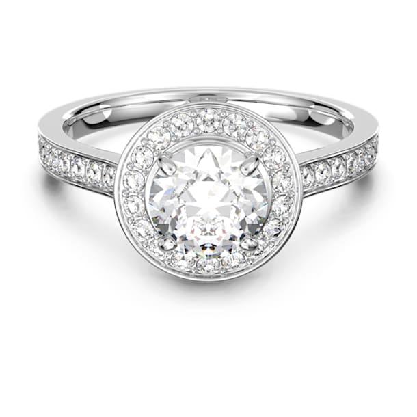 Prsten Attract Round, Bílý, Rhodiem pokovený - Swarovski, 5368545