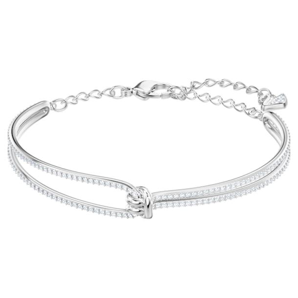 Lifelong Жёсткий браслет, Узел, Белый кристалл, Родиевое покрытие - Swarovski, 5368552