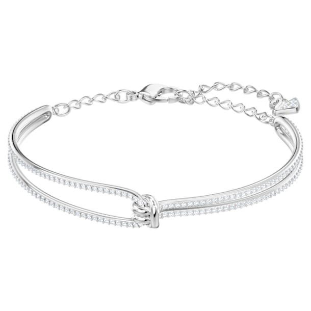 Lifelong armband, Knoop, Wit, Rodium toplaag - Swarovski, 5368552