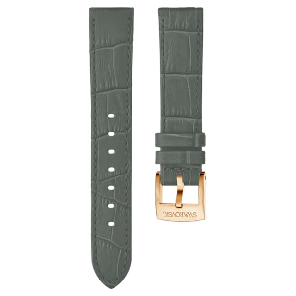 20mm Watch strap, Leather with stitching, Grey, Rose-gold tone plated - Swarovski, 5371982