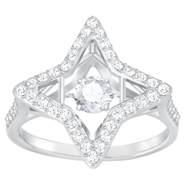 Sparkling Dance Star Ring, White, Rhodium plated - Swarovski, 5372932