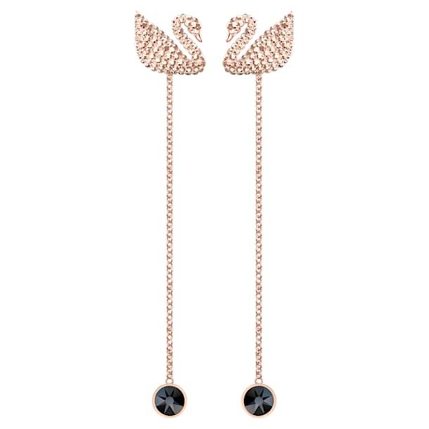 Pendientes Swarovski Iconic Swan, marrón, Baño en tono Oro Rosa - Swarovski, 5373164