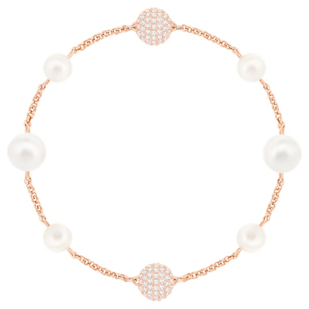 Swarovski Remix Collection Round Pearl Strand, White, Rose-gold tone plated - Swarovski, 5373260