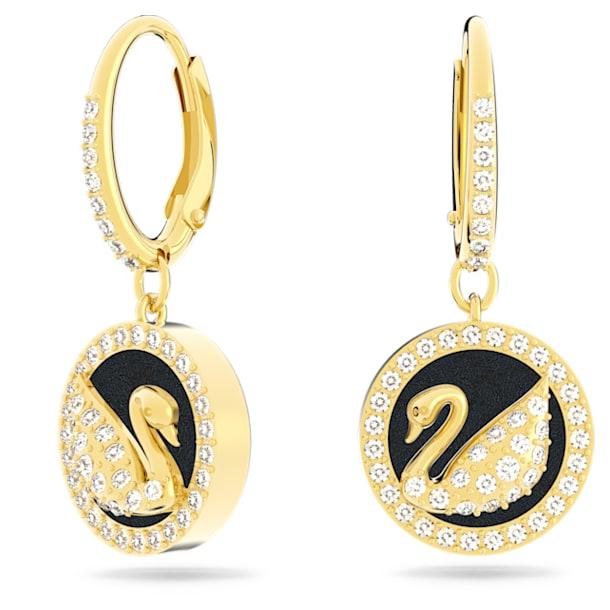Leather Swan earrings, Swan, Black, Gold-tone plated - Swarovski, 5374918