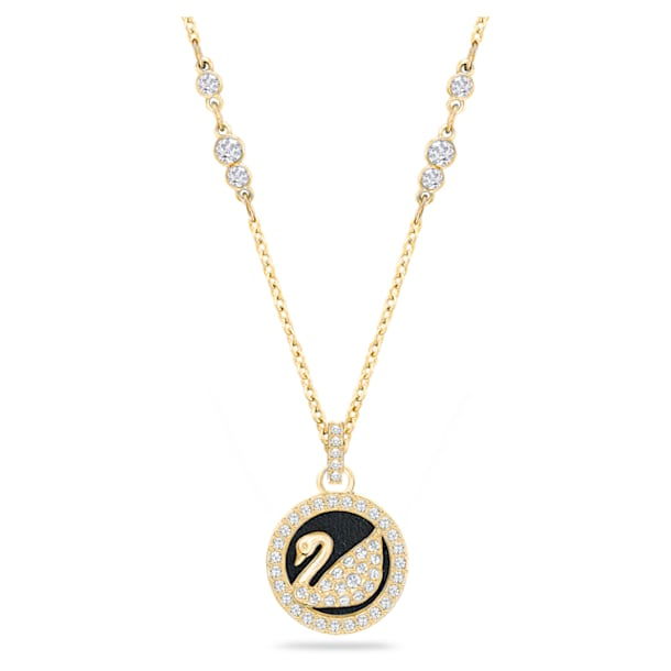 Leather Swan pendant, Swan, Black, Gold-tone plated - Swarovski, 5374919