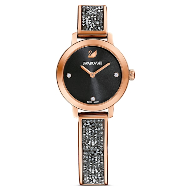Cosmic Rock Watch, Metal bracelet, Black, Rose-gold tone PVD - Swarovski, 5376068