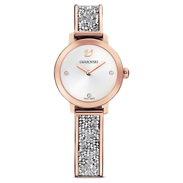 Cosmic Rock Watch, Metal bracelet, Silver tone, Rose-gold tone PVD - Swarovski, 5376092