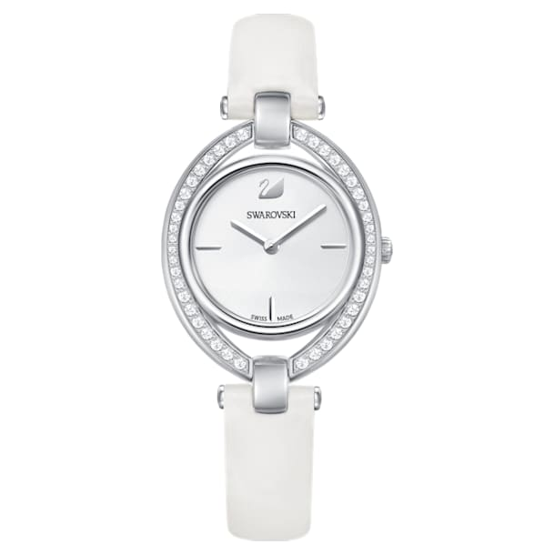 Stella Watch, Leather strap, White, Stainless steel - Swarovski, 5376812