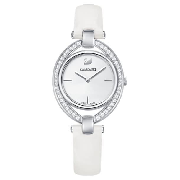 Stella Watch, Leather strap, White, Stainless steel - Swarovski, 5376812