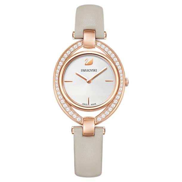 Stella horloge, Lederen band, Grijs, Roségoudkleurig PVD - Swarovski, 5376830