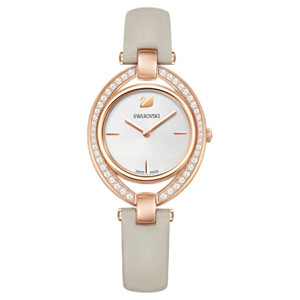 Stella watch, Leather strap, Gray, Rose-gold tone PVD - Swarovski, 5376830