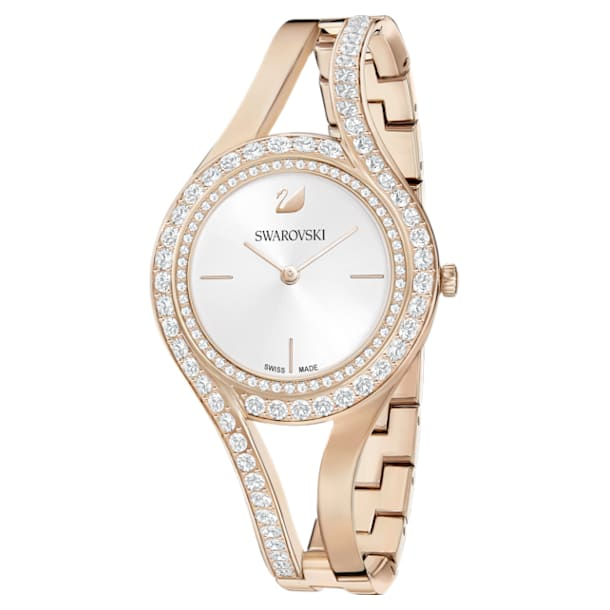 Eternal Watch, Metal bracelet, White, Champagne-gold tone PVD - Swarovski, 5377563