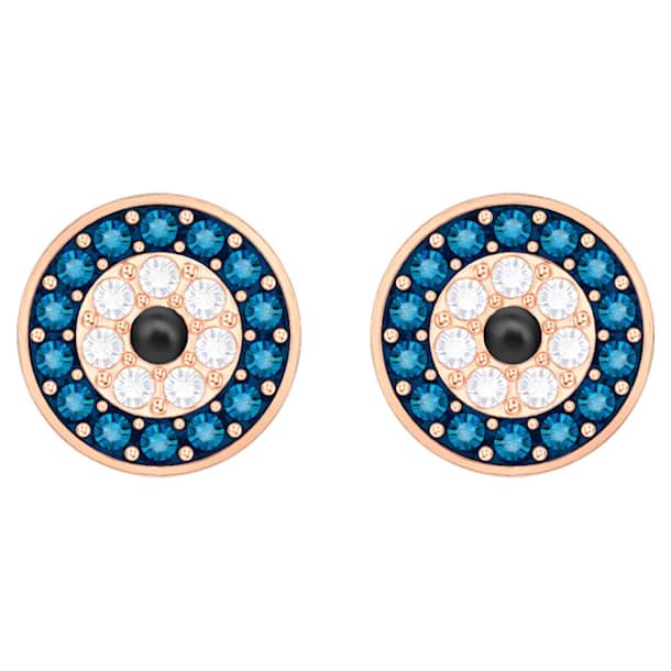Brincos para orelhas furadas Swarovski Luckily Evil Eye, azuis, banhados com tom rosa dourado - Swarovski, 5377720