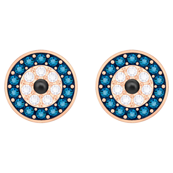 Luckily Evil Eye Pierced Earrings, Blue, Rose-gold tone plated - Swarovski, 5377720