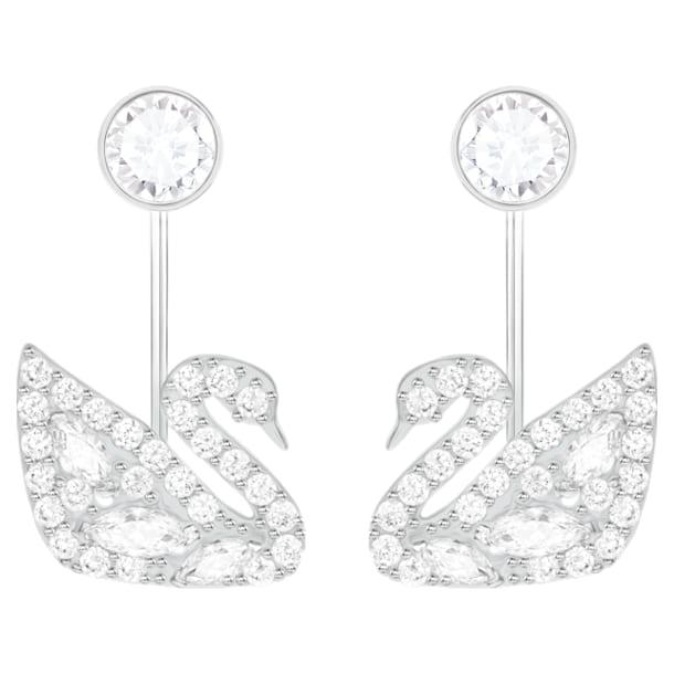 Swan Lake-earring jackets, Wit, Rodium-verguld - Swarovski, 5379944