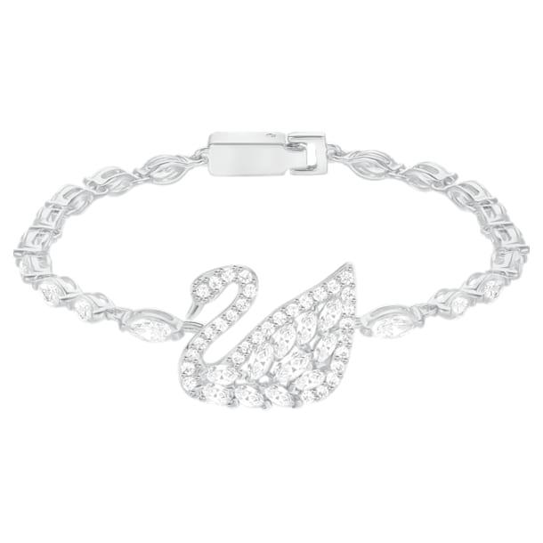 Swan Lake 手链, 白色, 镀白金色 - Swarovski, 5379947