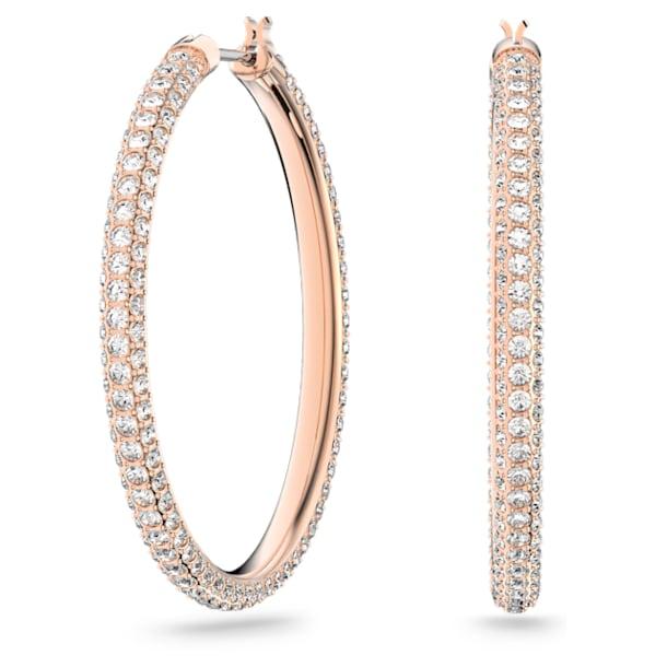 Stone hoop earrings, Pink, Rose gold-tone plated - Swarovski, 5383938