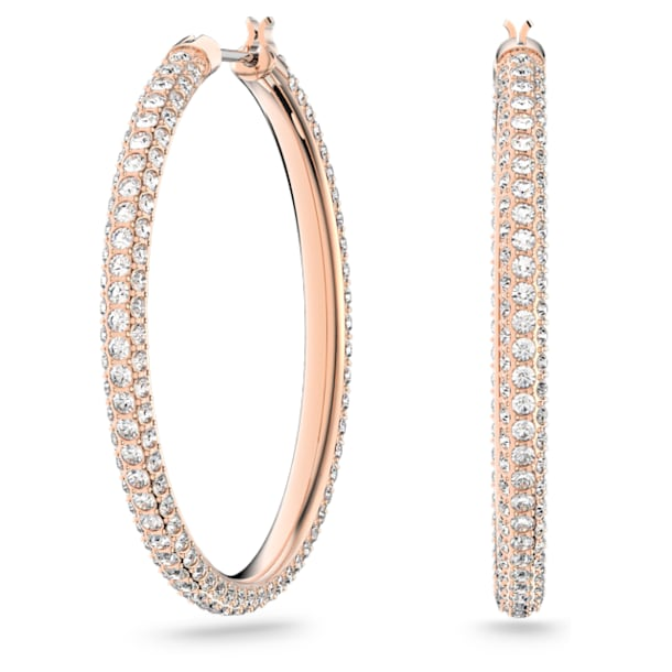 Stone Hoop Pierced Earrings, Pink, Rose-gold tone plated - Swarovski, 5383938