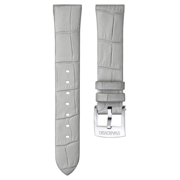 18mm Watch strap, Leather, Grey, Stainless steel - Swarovski, 5384086