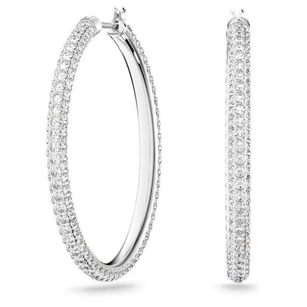Stone hoop earrings, White, Rhodium plated - Swarovski, 5389432