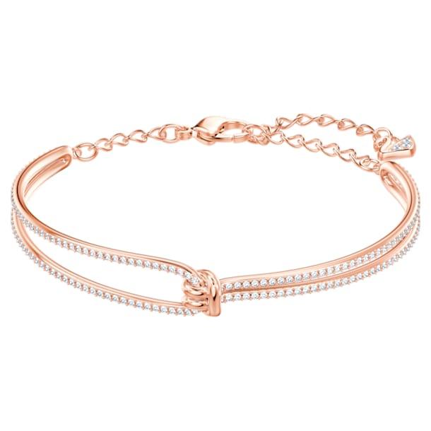 Lifelong bangle, Knot, White, Rose gold-tone plated - Swarovski, 5390818