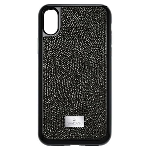 Pouzdro na chytrý telefon Glam Rock s integrovaným ochranným okrajem, iPhone® X/XS, černé - Swarovski, 5392050