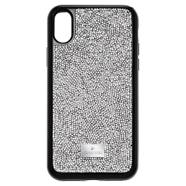 Coque rigide pour smartphone avec cadre amortisseur intégré Glam Rock, iPhone® X/XS, gris - Swarovski, 5392053