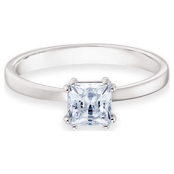 Anillo Attract, Cristal de talla cuadrada, Blanco, Baño de rodio - Swarovski, 5402444