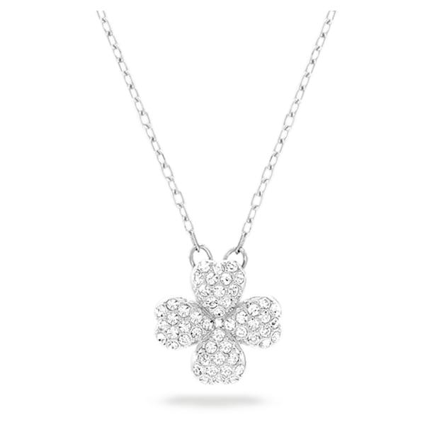 Banjo necklace, Clover, White, Rhodium plated - Swarovski, 5407460