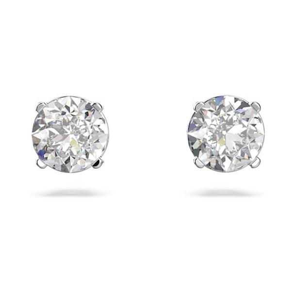Attract Round Pierced Earrings, White, Rhodium plated - Swarovski, 5408436