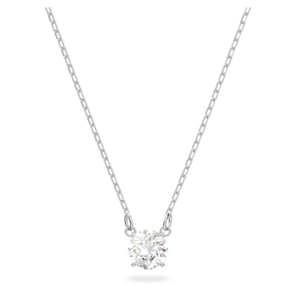 Attract Round Necklace, White, Rhodium plated - Swarovski, 5408442