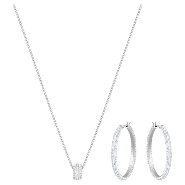 Parure Stone, blanc, métal rhodié - Swarovski, 5408456