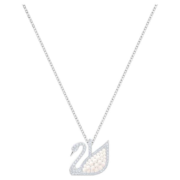 Swarovski Iconic Swan Pendant, White, Rhodium plated - Swarovski, 5411791