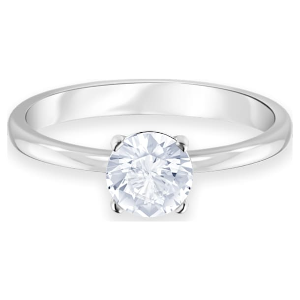 Attract Ring, weiss, Rhodiniert - Swarovski, 5412023