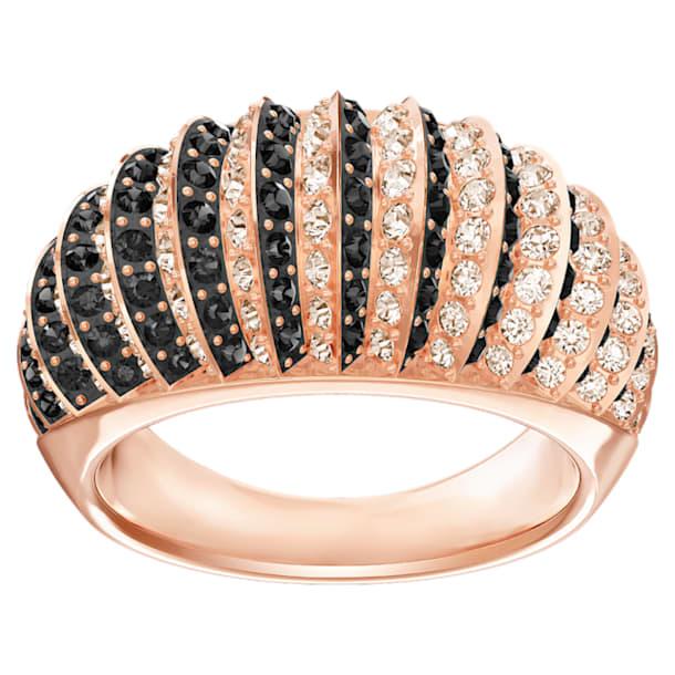 Bague Luxury Domed, noir, Métal doré rose - Swarovski, 5412037