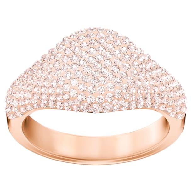 Stone Signet Ring, Pink, Rose gold plating - Swarovski, 5412076