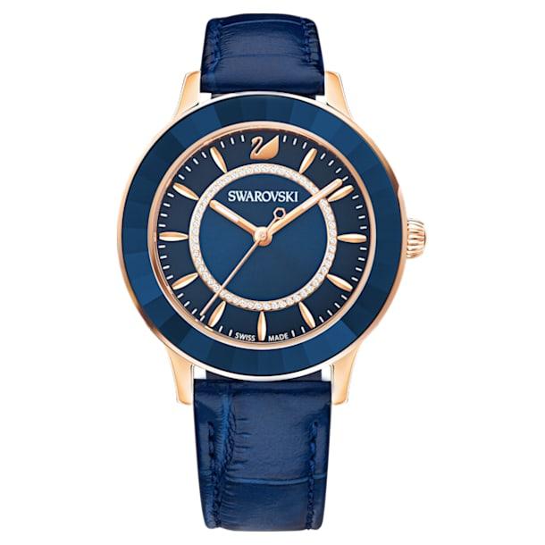 Octea Lux 腕表, 真皮表带, 蓝色, 玫瑰金色调 PVD - Swarovski, 5414413