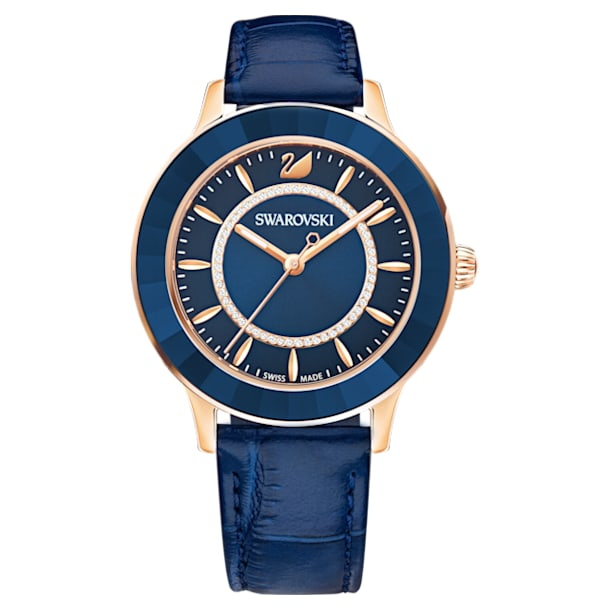 Octea Lux Watch, Leather strap, Blue, Rose-gold tone PVD - Swarovski, 5414413