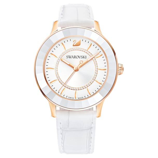 Octea Lux Uhr, Lederarmband, weiss, Rosé vergoldetes PVD-Finish - Swarovski, 5414416