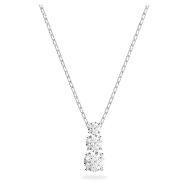 Attract Trilogy pendant, Round, White, Rhodium plated - Swarovski, 5414970