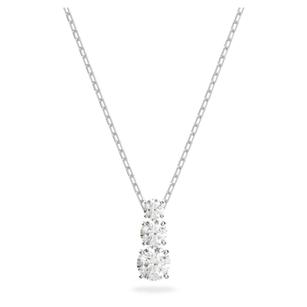 Attract Trilogy Round Pendant, White, Rhodium plated - Swarovski, 5414970