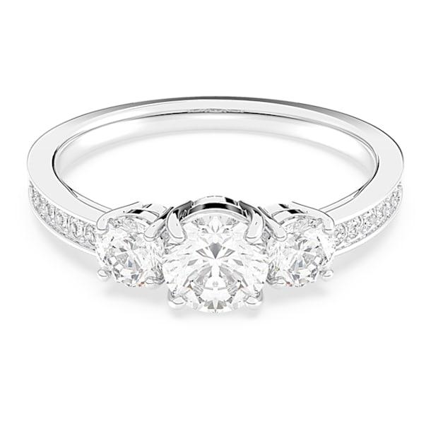 Attract Trilogy Round 戒指, 白色, 鍍白金色 - Swarovski, 5414972
