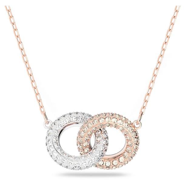 Collana Stone, Circolare, Bianco, Placcato color oro rosa - Swarovski, 5414999
