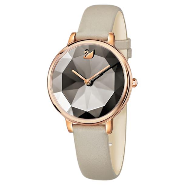 Reloj Crystal Lake, Correa de piel, gris, PVD en tono Oro Rosa - Swarovski, 5415996