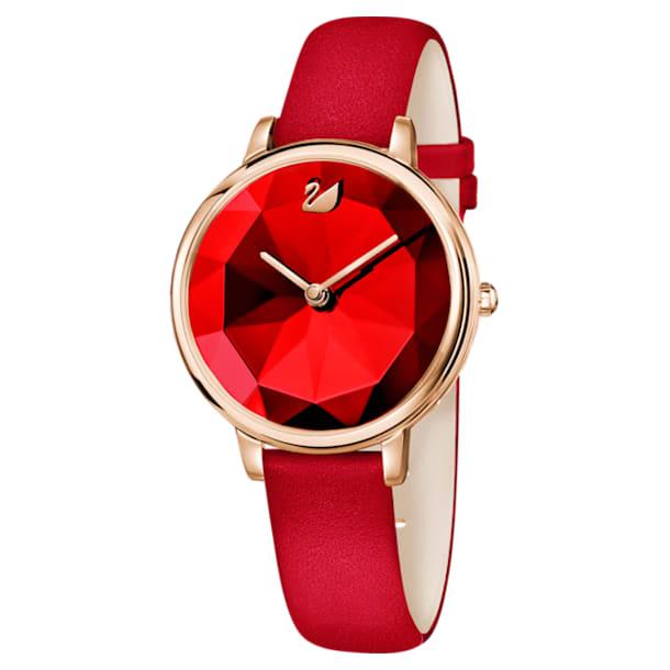 Montre Crystal Lake, Bracelet en cuir, rouge, PVD doré rose - Swarovski, 5415999