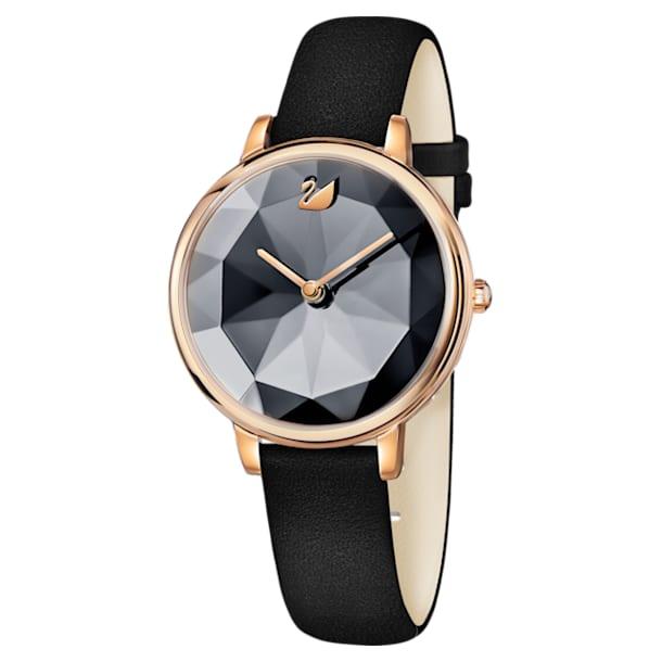 Zegarek Crystal Lake, Skórzany pasek, Czarny, Powłoka PVD w odcieniu różowego złota - Swarovski, 5416009