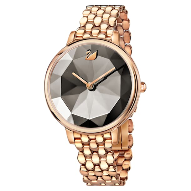 Montre Crystal Lake, Bracelet en métal, gris, PVD doré rose - Swarovski, 5416023