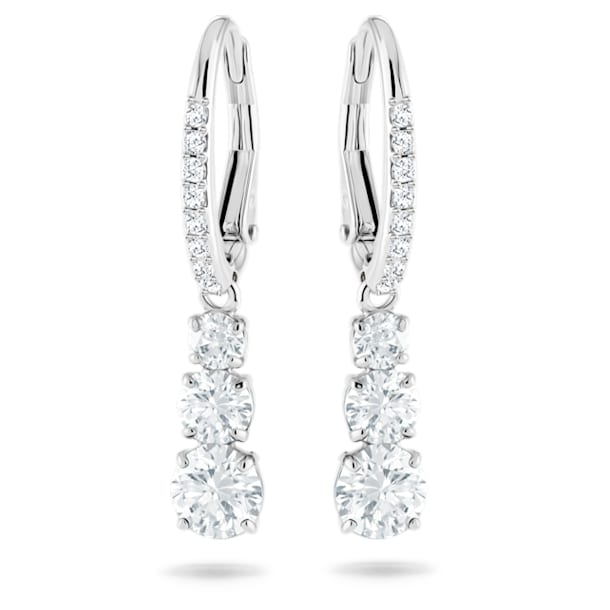 Attract Trilogy earrings, White, Rhodium plated - Swarovski, 5416155